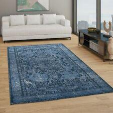 Teppich Wohnzimmer Kurzflor Boho Vintage Design Orientalisches Muster Blau