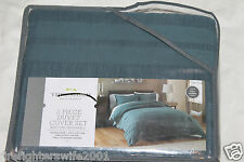 Threshold Teal Seersucker F/Q Duvet Cover Set new #0146