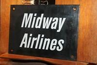 "Vintage Midway Airlines Porcelain Enamel Airport Sign  6-1/4"" x 8-3/4"""