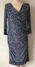 DAMSEL IN A DRESS, Navy Print Rouched Body Con Dress,Size 10,NEVER WORN RRP £129