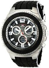 U.S. Polo Assn. Sport Mens Black Textured Strap Analog Digital Watch