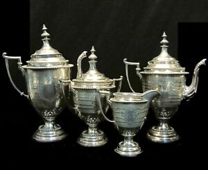 Antique Victorian Aesthetic Silver Plated Rogers & Smith Coffee Tea Service Set