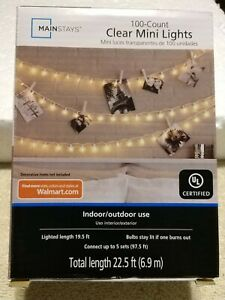 Mainstays Clear Mini Lights Set Indoor/Outdoor 100 Count  NEW