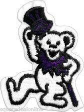20254 Dancing Bear White Dark Purple Fun 1960s Sixties Hippy Happy Iron On Patch