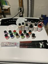 Angelus Sneaker shoe paint lot, tray brushes thinner finisher prep sole bright