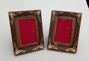 Original Pair of Art Nouveau Photo Picture Frames Oak Gilt & Opal c.1910