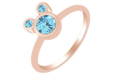 Round Shape Aquamarine Mickey Mouse Ring 14K Rose Gold Over Sterling Silver