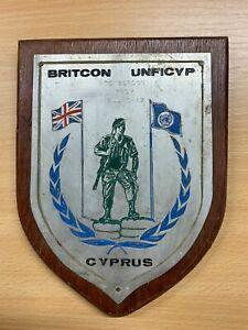 VINTAGE BRITCON UNFICYP CYPRUS MILITARY WOODEN SHIELD PLAQUE