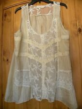 JOHNNY WAS 4 LOVE & LIBERTY PINTUCK, LACE, CRYSTALS, CAMISOLE TANK SIZE XL