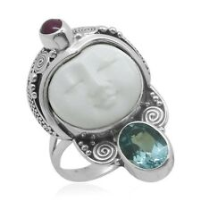 Carved Bone Blue Topaz Ruby Sterling Ladies Ring Size 9 (2.88 tcw)(D)