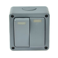 Waterproof IP66 Outdoor Garden Weatherproof 2 Gang 10A Dual Wall Light Switch