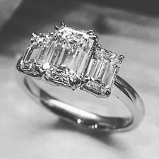 Certified 3.25Ct White Emerald Cut Diamond Engagement Awesome Ring in14K Gold