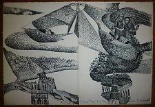Aristide Caillaud Lithographie originale signée 1966 art brut art singulier