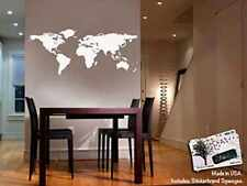 Removable Decal Art Mural Home Nursery Room Decor Wall Sticker World Map White