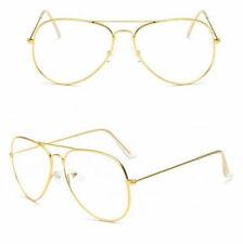 GOLD Clear Lens Glasses Classic Pilot Tear Drop Frame Men Womens