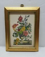 "Vintage Wood Wooden Picture Frame 9"" x 7"" Gold Gilt Floral Flower Bouquet Print"