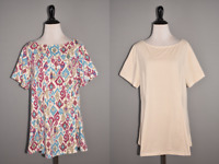DENIM & CO NEW $72 Set of Two Fit & Flare Knit Tunics LP Large Petite