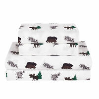 Twin, Full, Queen, King Rustic Bear Moose Bed Sheet Set Microfiber Cabin Hunting