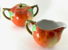 Red Fuji Apple Fruit w/ Leaves Sugar Bowl & Creamer Set Vintage Japan