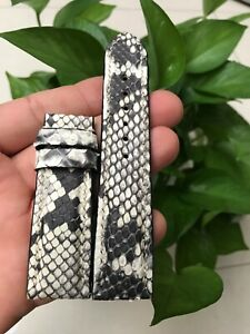 Black and White  Genuine Python LEATHER SKIN WATCH STRAP BAND 22mm /20mm