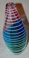 ART GLASS VASE 11 1/2 INCHES TALL PINK TEAL 5 LBS HAND BLOWN