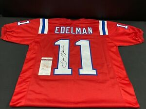 JULIAN EDELMAN NEW ENGLAND PATRIOTS SIGNED RED CUSTOM JERSEY JSA WITNESS COA
