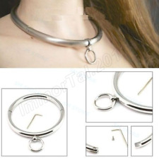 Stainless Steel Slave Rolled Neck Collar Restraints Locking Choker Necklace Ring