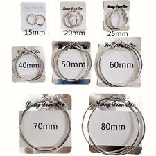 Par de Pendientes de Aros de Acero Metal Plateado para Chicas Mujer 15mm-80mm