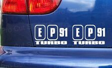 EP91 Turbo Glanza V Honda Civic Stickers Decals Graphics Car Window Bumper JDM