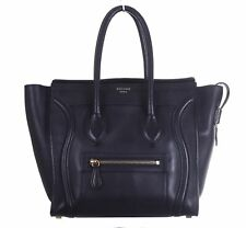CELINE Luggage Micro Black Smooth Leather Tote Bag Purse