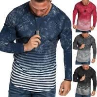 Herren Gradient Langarmshirt T-Shirt Slim Fit Freizeit Rundhals Bluse Shirts Top