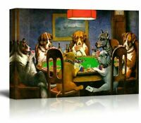 Pokers Dogs Playing Cards by C. M. Coolidge Canvas Wall Art Print