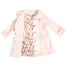 Sweet Heart Rose Baby Girl Winter Pink Quilted Jacket Coat Floral Dress Set 24M