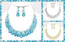 Vine Collar Bib Statement Evening Wedding Bridal Crystal Rhinestone Necklace Set