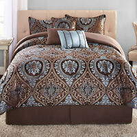 7-Piece Comforter Bedding Queen Decorative Pillow Set Bed in a Bag Brown