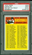 1970 TOPPS #343 4TH SERIES CHECKLIST PSA 9oc (MINT) RED BAT ON FRONT POP 1