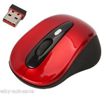 Red Wireless Optical mouse with Mini usb receiver for Dell Toshiba Apple Laptop