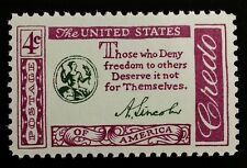 1960 4c Abraham Lincoln, Freedom Quotation Scott 1143 Mint F/VF NH