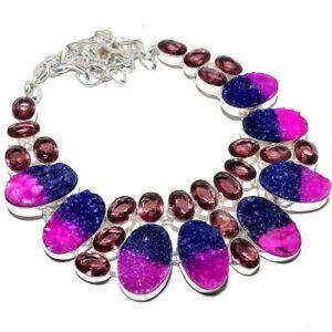 "Bi-Color Quartz Drusy & Amethyst 925 Sterling Silver Necklace 16-18"" S21"