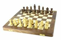 """Folding Wooden Handmade Chess Set Board with Pieces, 16"""" x 16"""""""