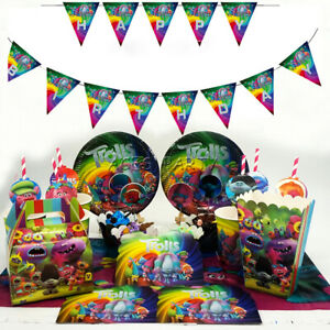Trolls Party Tableware Birthday Decoration Supplies Plates Straws Flag Cloth