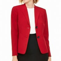 Le Suit Women's Jacket Super Red Size 12 2 Button Shawl Collar $80- #220