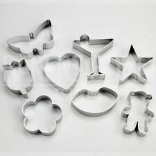 Valentines Set of 8 Metal Cookie Cutters Heart Lips Flowers Butterfly Star Bear