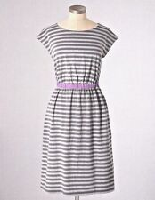 BODEN Newquay Soft Stretch Cotton Jersey Gray Striped Dress WH515 16L NEW