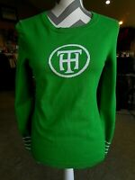 "Tommy Hilfiger TH Green Stripe Sweater 100% cotton Small Petite ""TH"" Initials"