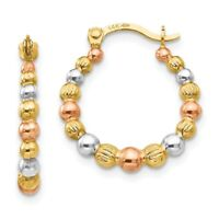 14K Tri-color Madi K Beaded Hoop Earrings New Yellow Gold