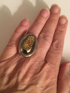 925 Sterling DRUZY Gold & Gray with Luster Ring, Weight: 19.7 Grams - Size: 8.5