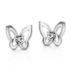 14k White Gold plated Czech Rhinestone Crystals Butterfly Stud Earrings