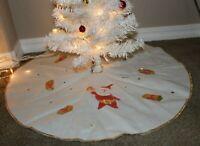 Vintage MCM 50s Christmas Tree Skirt Santa w Gold Foil Presents Star JAPAN RARE!