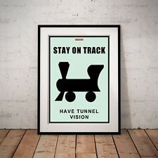 """STAY ON TRACK Monopoly Success Gift Work Home Wall Art Decor 24"""" x 36"""" POSTER"""